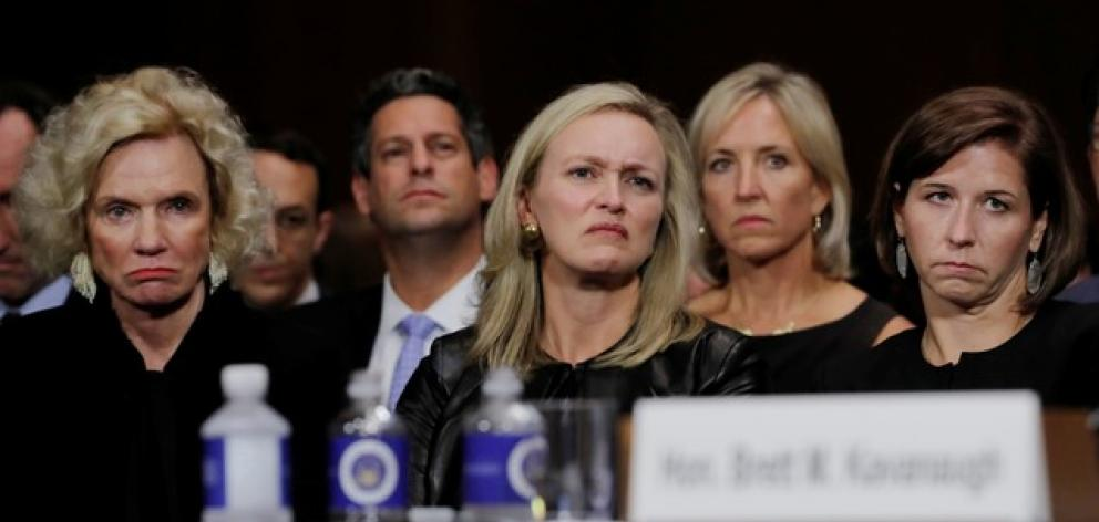 Family members of of US Supreme Court nominee Brett Kavanaugh, including his wife Ashley (right) and mother Martha (left). Photo: Reuters