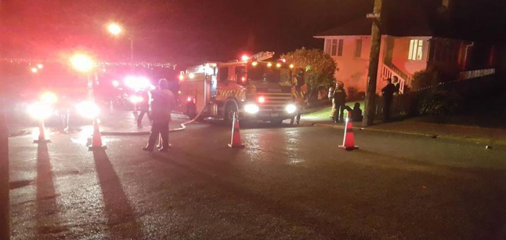 Emergency services were called to a fire at a house in Brockville last night. Photo: George Block