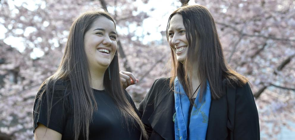 University of Otago senior law student and scholarship recipient Kaahu White (left) and Otago law...