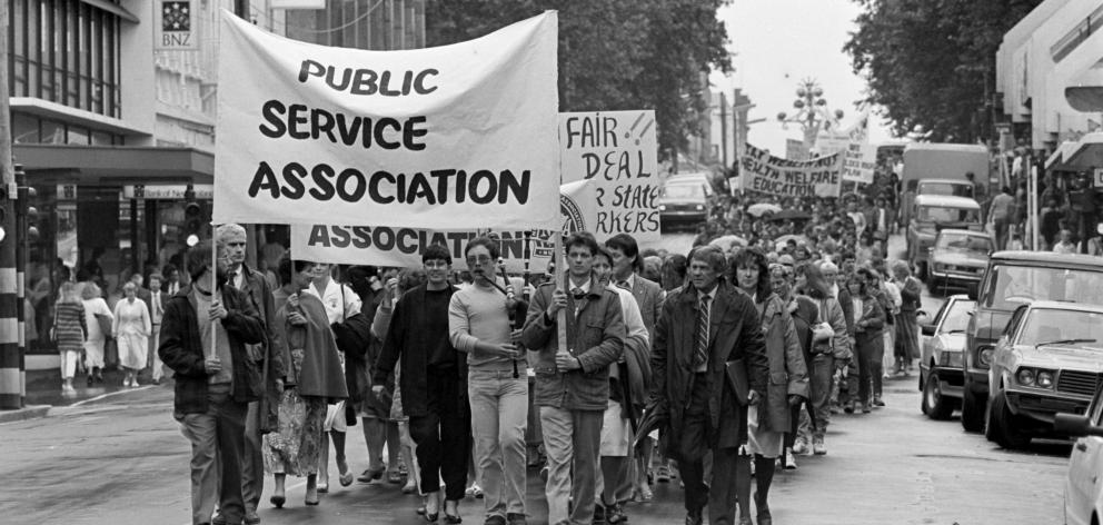 The Otago branch of the PSA marched in 1987 against the introduction of the State Sector Bill....