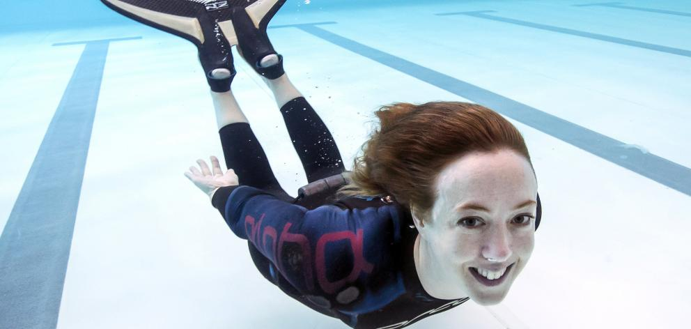 Kathryn Nevatt, of Queenstown, free diving at an earlier event. Photos: Aliscia Young/GALAXIID &...