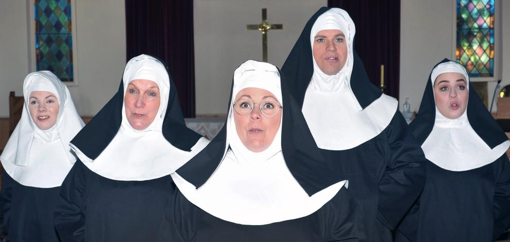 Nunsense cast members (from left) Hannah Anderson, Sally Davies, Jules Molloy, Nick Meissel and...