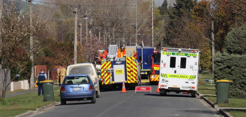 Police have cordoned off Chaucer St in Milton after a chemical spill. Photo: Jack Conroy