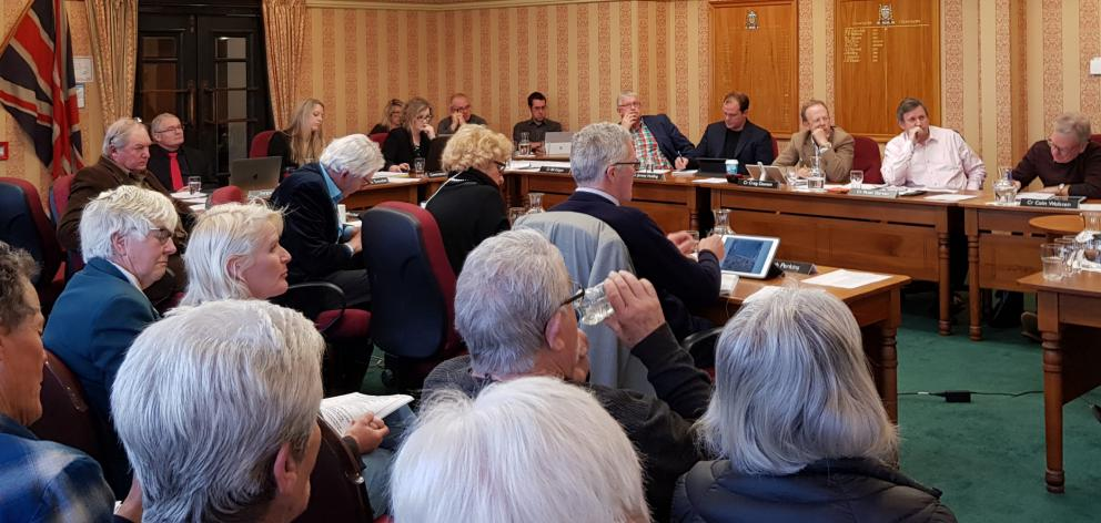 The Waitaki District Council chambers were full for a public forum, presentation and councillor...