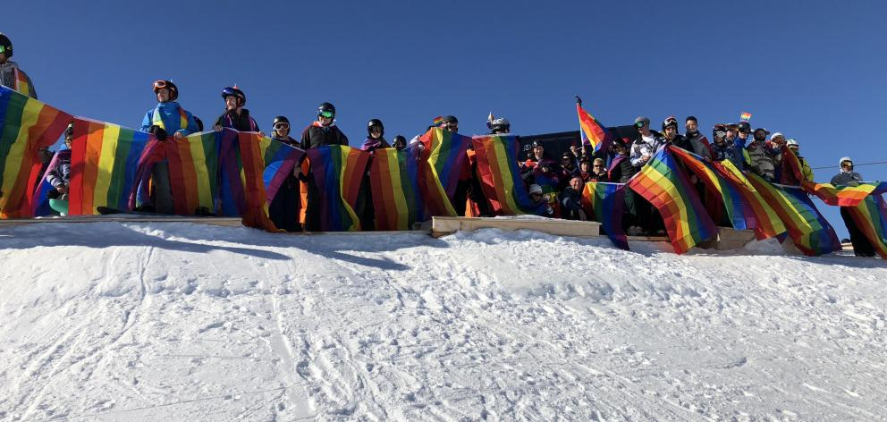 Winter Pride revellers enjoy the powder at Cardrona on Saturday. Photo: Daisy Hudson