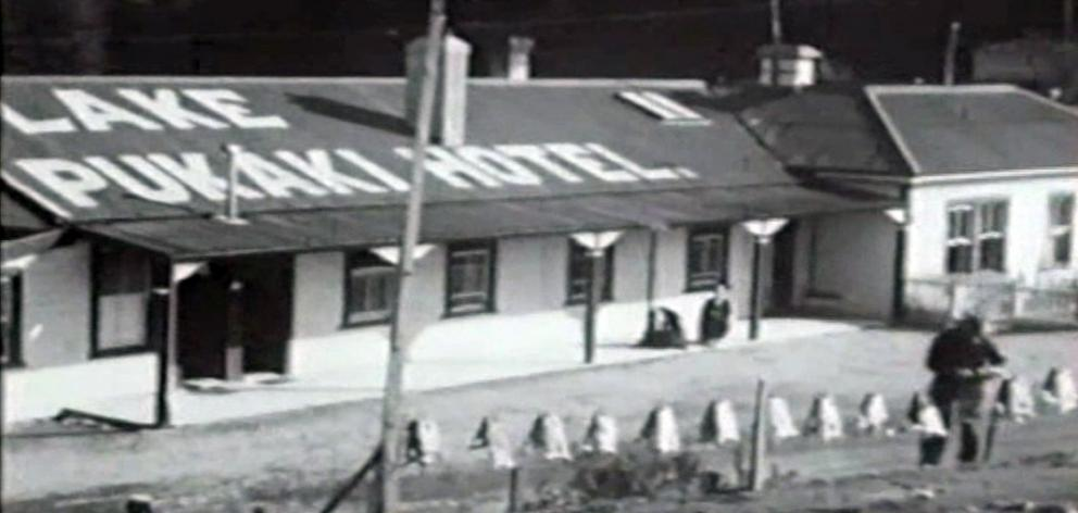 Rabbit skins being dried in the sun outside the Lake Pukaki Hotel, in a frame from a silent movie made for J.K. Mooney & Co Ltd in the early 1930s. Photo: Joe Enright