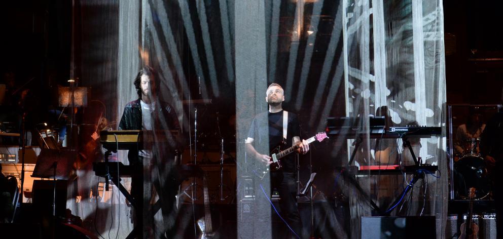 Rhian Sheehan and band rehearse at the Dunedin Town Hall last night. Photo: Linda Robertson
