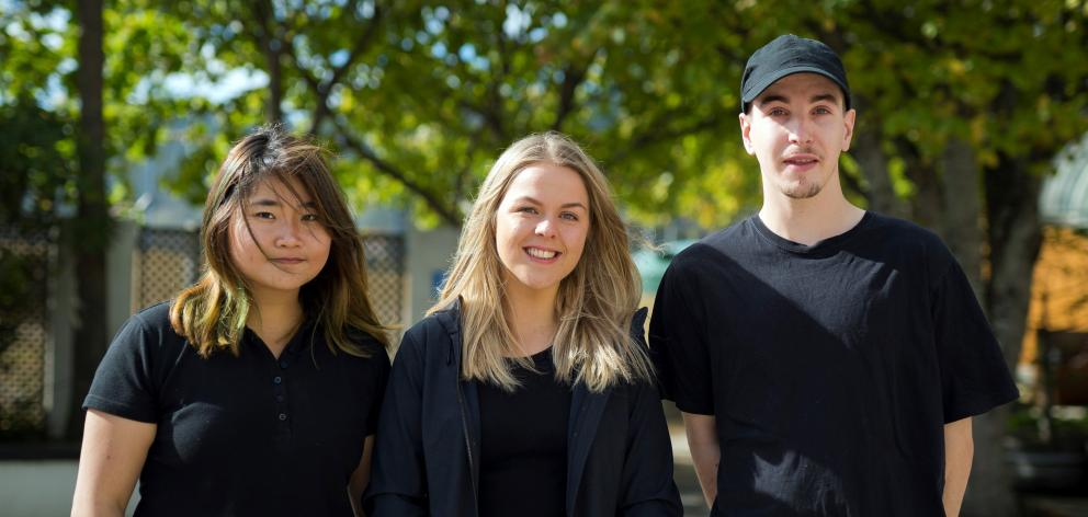 Otago Polytechnic bachelor of culinary arts students (from left) Jessica Alicia, Sophie James and Euan Fraser. Food styling and photography: Sophie James