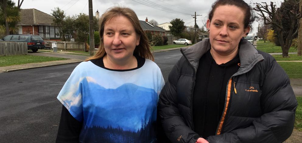 Murray St residents Rosanne Dee (left) and Natalie Sinclair want measures put in place to stop motorists speeding in their Mosgiel street. Photo: Shawn McAvinue