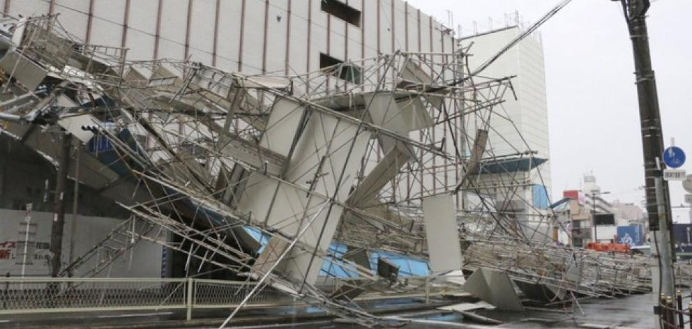 A building damaged by Typhoon Jebi is seen in Osaka. Photo: Reuters