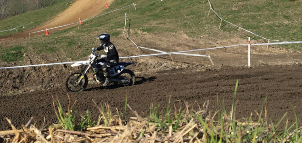 Carey Hart races at the New Zealand Veteran and Women's Motocross Championships south of Timaru ...