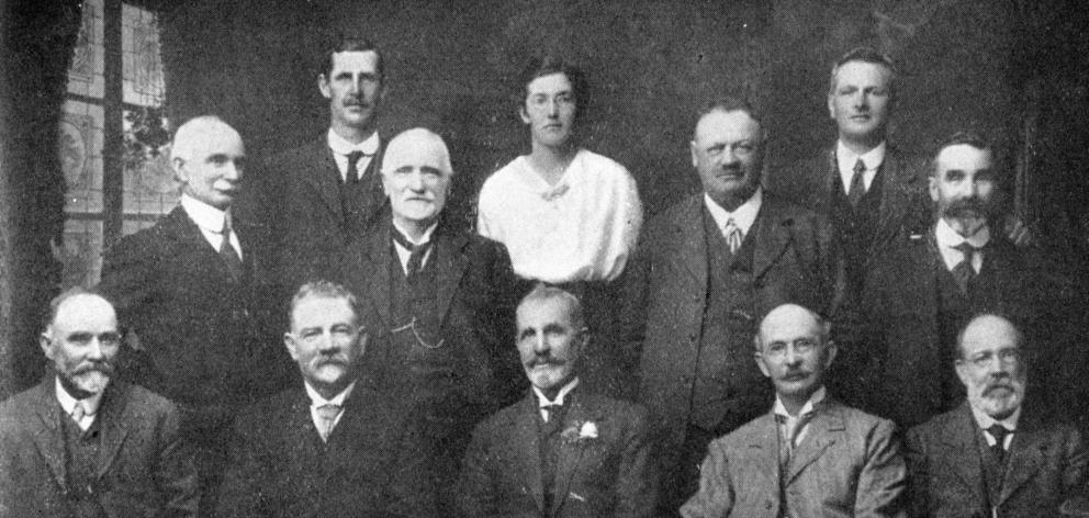 The Waitaki County Council. Front row (from left): Crs R. McFadgen, A. Forbes, G. Livingstone ...