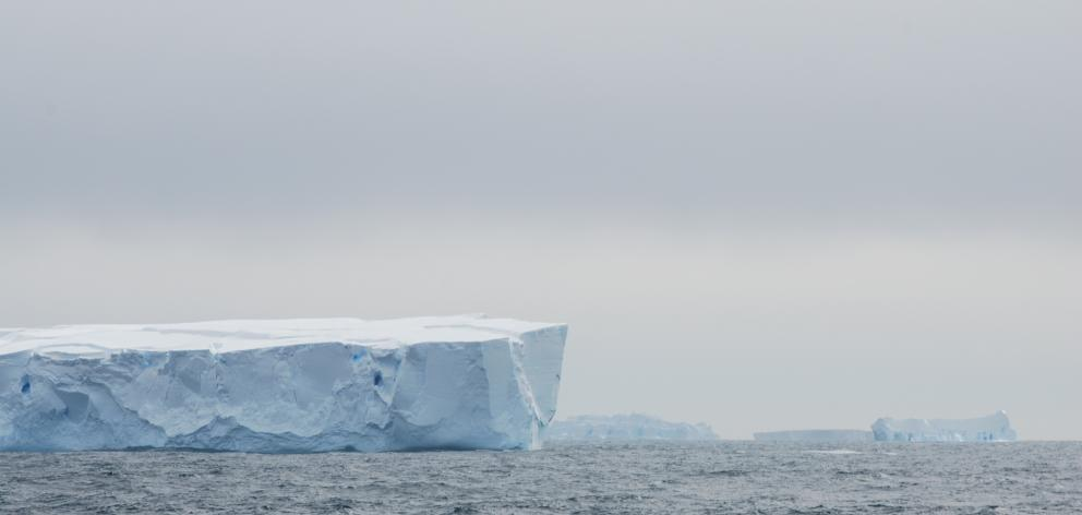 A flotilla of tabular icebergs adrift in the Southern Ocean, near the outlet of the Wilkes...