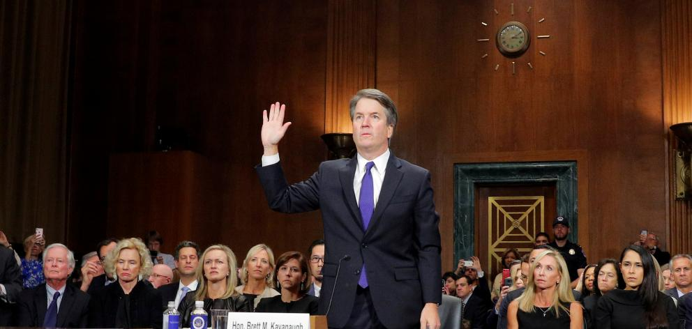 Brett Kavanaugh is sworn in to testify at Senate Judiciary Committee confirmation hearing on...