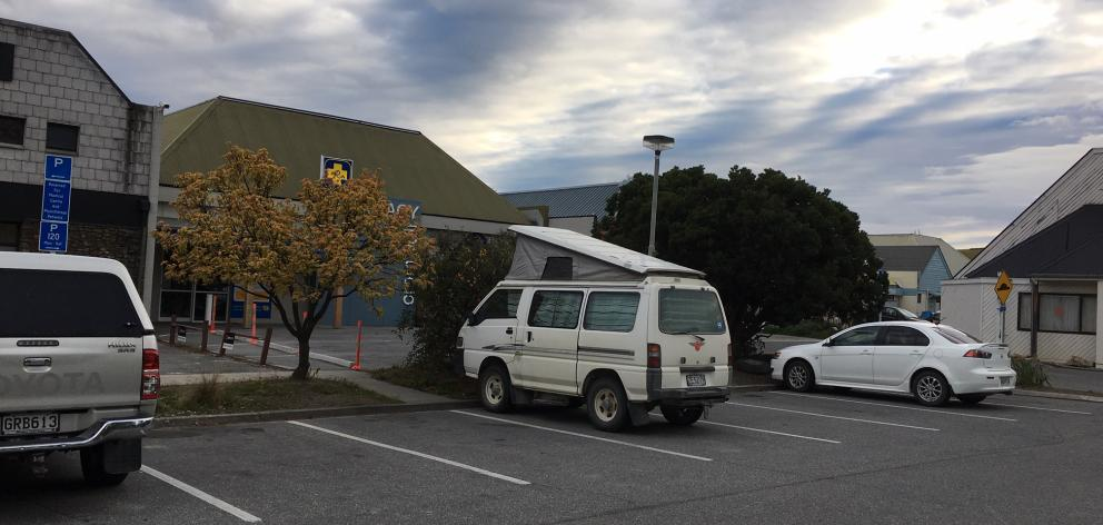 A camper van parked in a public car park in Cromwell, where people were  believed to have been...