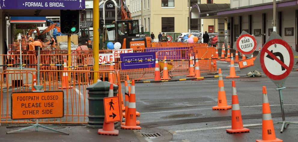 Orange barriers cover the bus hub work site in Great King St this week. Photo: Stephen Jaquiery