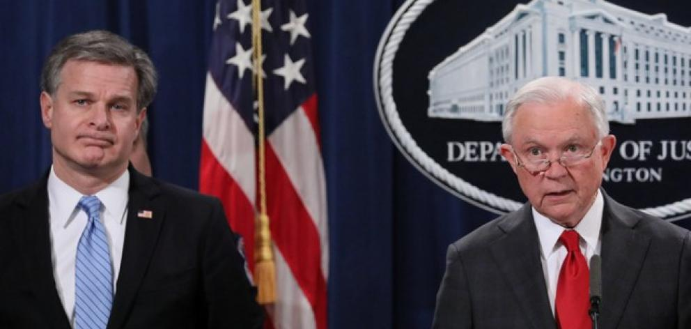 US Attorney General Sessions and FBI Director Wray hold news conference to discuss arrest in parcel bomb investigation. Photo: Reuters
