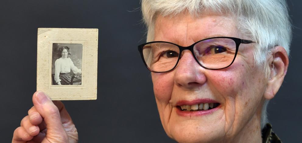 Jennifer Harford with a portrait of her great aunt Eva Cooper, a Dunedin Hospital nurse who died...