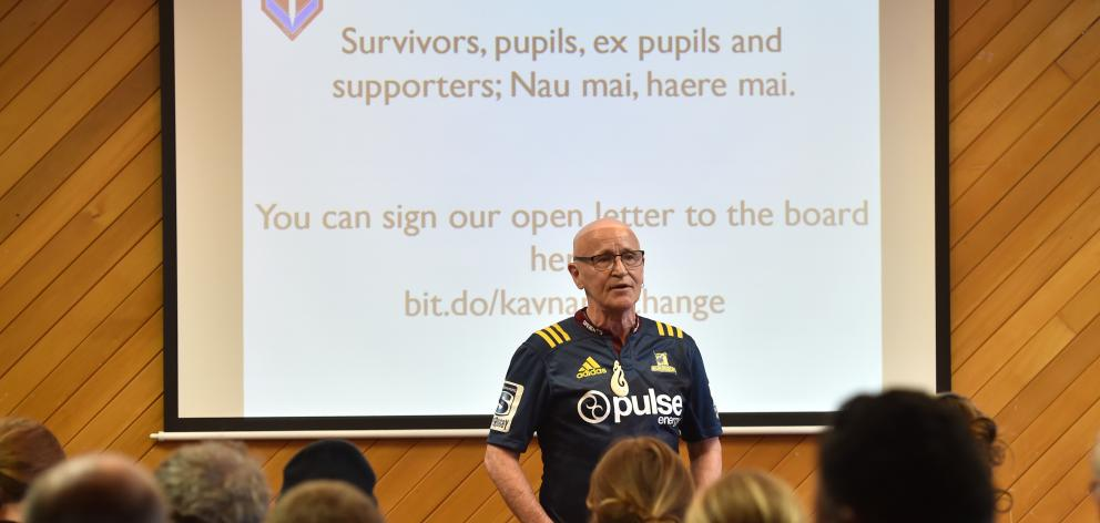 Dr Murray Heasley, from the Network of Survivors in Faith-based Institutions and their Supporters, calls for a name change for Kavanagh College at a public meeting in Dunedin last night. Photo: Peter McIntosh