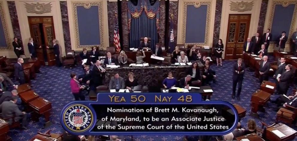 A still image taken from video of the final tally of votes by the U.S. Senate on the confirmation of Supreme Court nominee Judge Brett Kavanaugh in Washington. Photo: Senate TV via Reuters