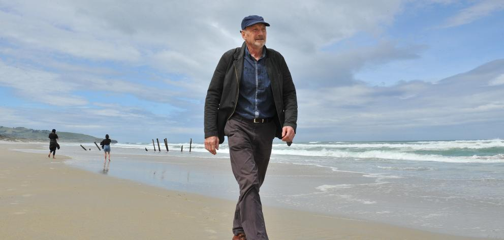 Neville Peat on St Clair beach, where work has begun to hold back the invading sea. Photo: Gregor...