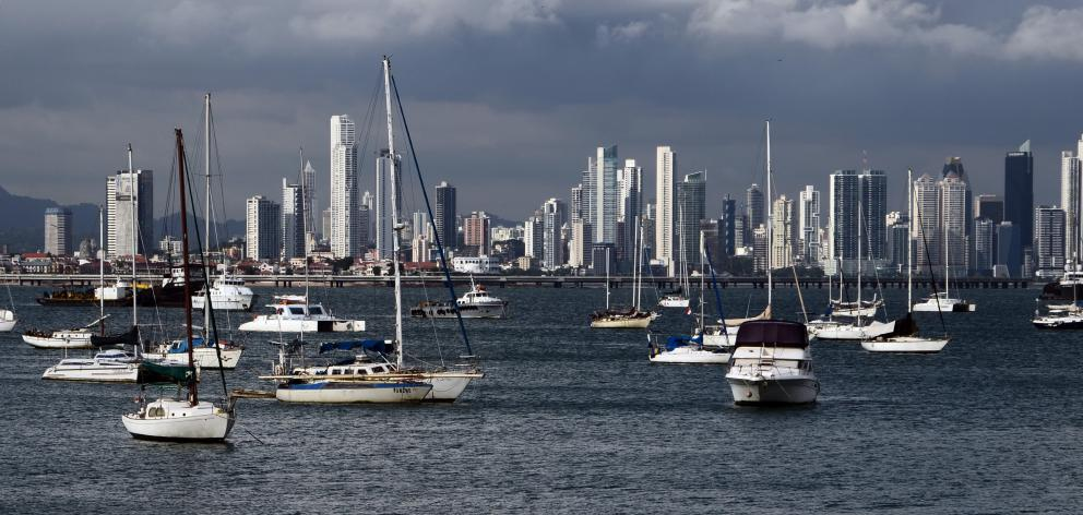The modern skyline of Panama City.