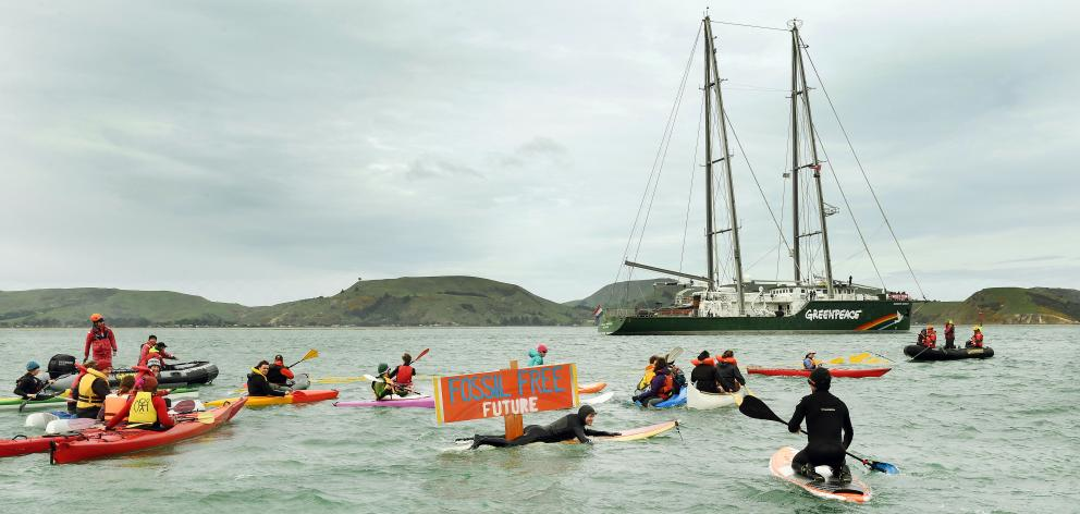 A flotilla of supporters welcome the Rainbow Warrior to Dunedin on Saturday afternoon. Chilly...