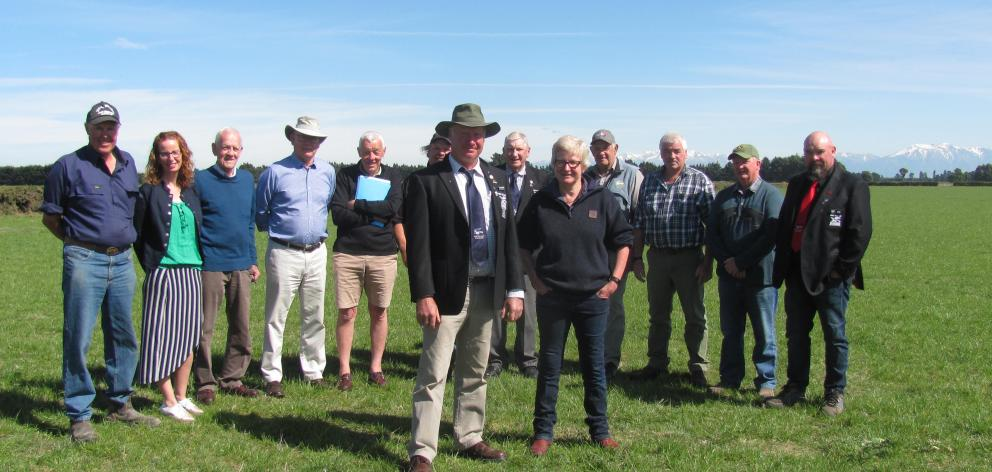 Members of the NZ Ploughing Association executive team and Rakaia Ploughing Association members meet on the Wilkinson farm at Chertsey, (from left) John Hall, Sarah McCully, Eddie Oakley, John Davison, Graeme Joyce, James Burnby, Bruce Redmond, Noel Sheat