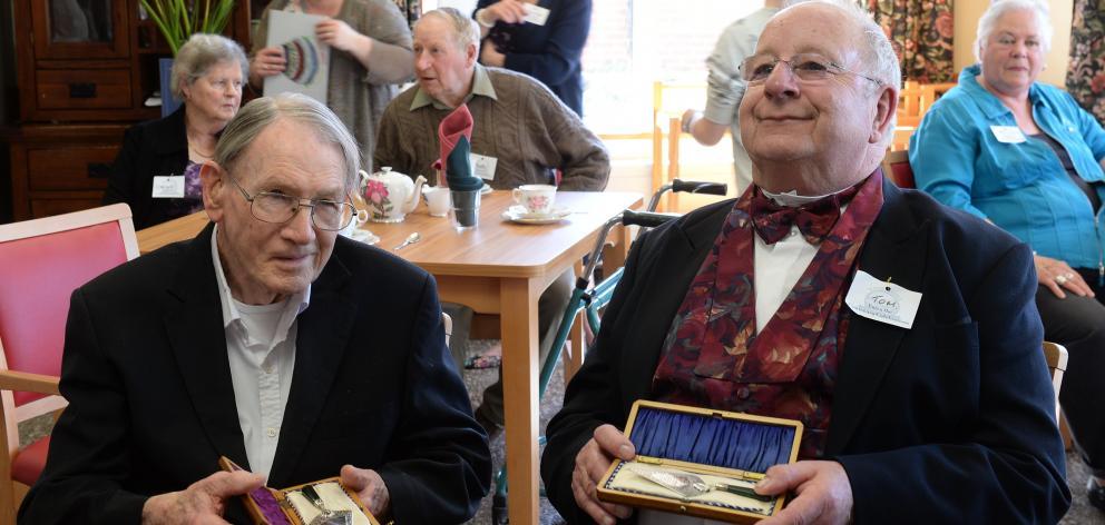 John Allen (left), grandson of Presbyterian moderator Andrew Cameron, and Tom Ross, great...