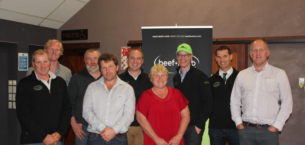From left are new chairman Bill McCall, of Waikoikoi, new member James Edgar, of Moa Flat, new vice-chairman Graham Evans, of Owaka, new member Matthew Tayler, of Garston, BLNZ South Island general manager John Ladley, new member Jeanette Topham, of Hedge
