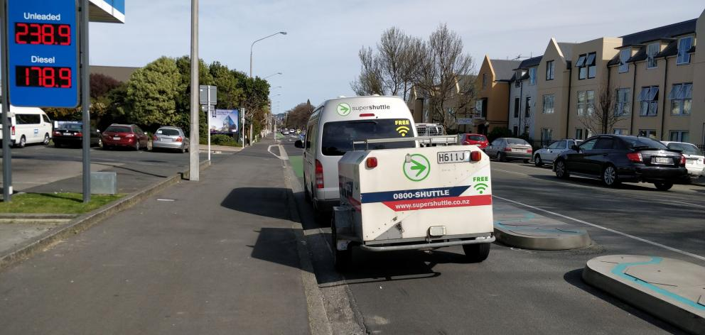 A Super Shuttle vehicle parked in the Cumberland St cycle lane last month. Photo: Supplied