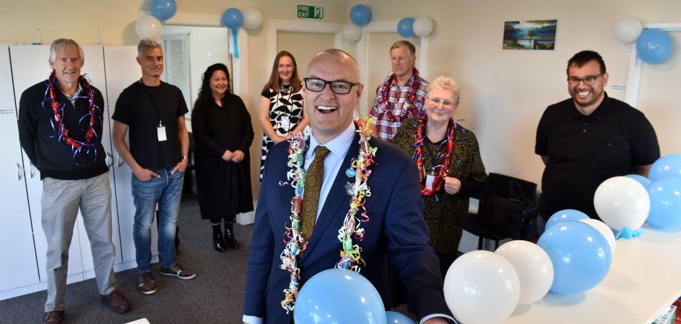 Health Minister David Clark (front) attends the opening of Te Kaika Brockville on Saturday with ...