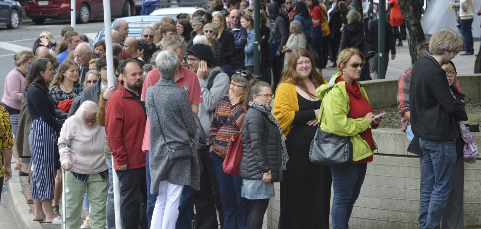 Hundreds queued outside the town hall hoping to hear Ms  Ardern's speech.
