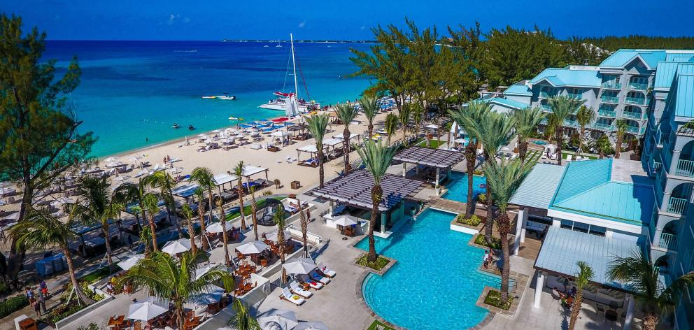 An aerial view of the Westin Grand Cayman resort.