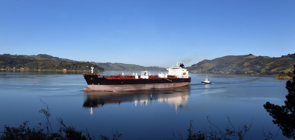 Higher imported fuel costs and the low New Zealand dollar took their toll in a larger-than-expected trade deficit; pictured, fuel tanker MV Kokako pictured at Roseneath leaving Otago Harbour. Photo: Peter McIntosh