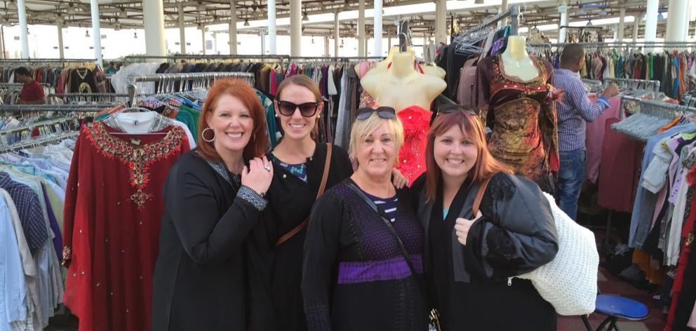Three Kiwis and a South African at the Princess Souk. Photo: Supplied