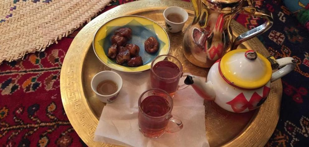 Mint tea, coffee and dates. Photo: Supplied