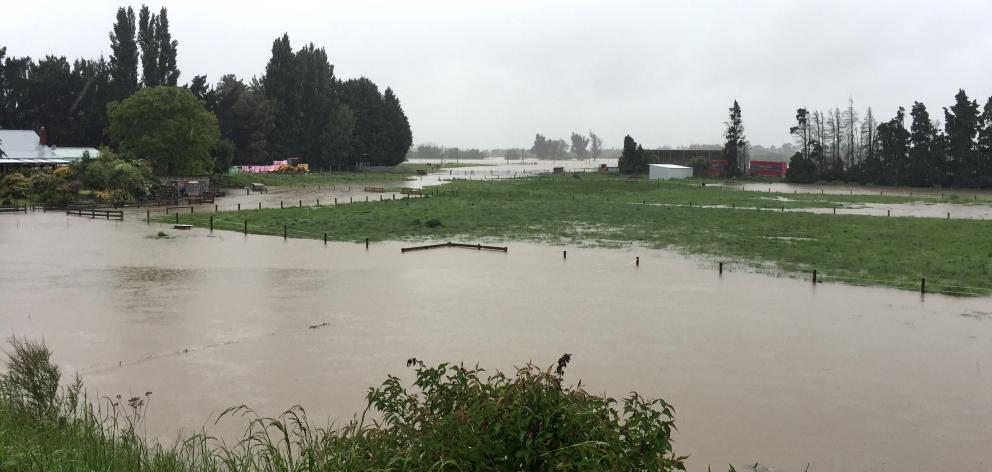 Surface flooding at a property on the Taieri. Photo: Gregor Richardson
