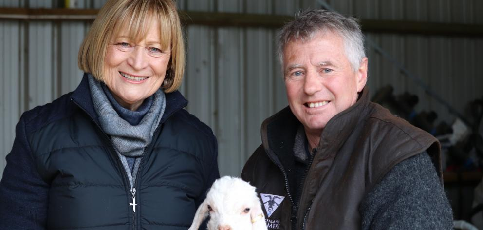 Untouched World founder Peri Drysdale and Clinton farmer David Shaw with a kid goat. Photos:...
