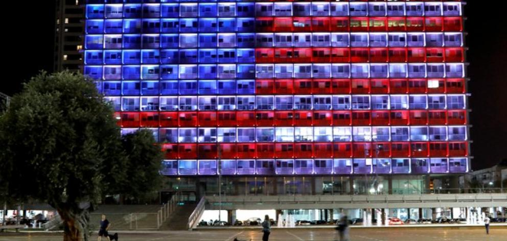 The municipality building in Tel Aviv is lit in the colours of the American flag in solidarity with the victims of the Pittsburgh synagogue attack. Photo: Reuters