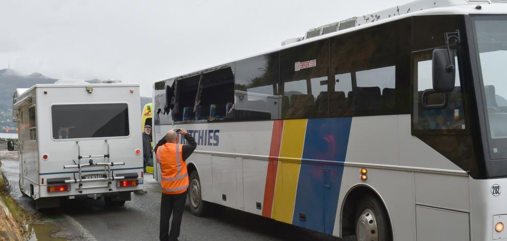 A bus carrying cruise ship passengers and a campervan, which collided on the Otago Peninsula...