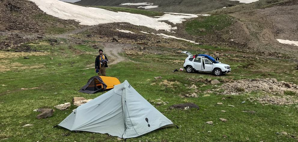 Our campsite near Kari Lake at about 3000 metres' elevation.