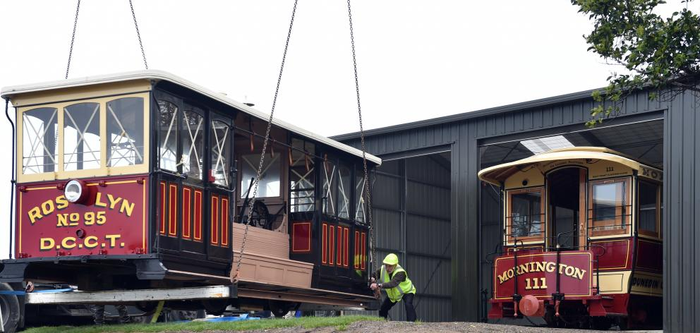 Dunedin Heritage Light Rail Trust trustee Neville Jemmett with the restored cable car Roslyn No...