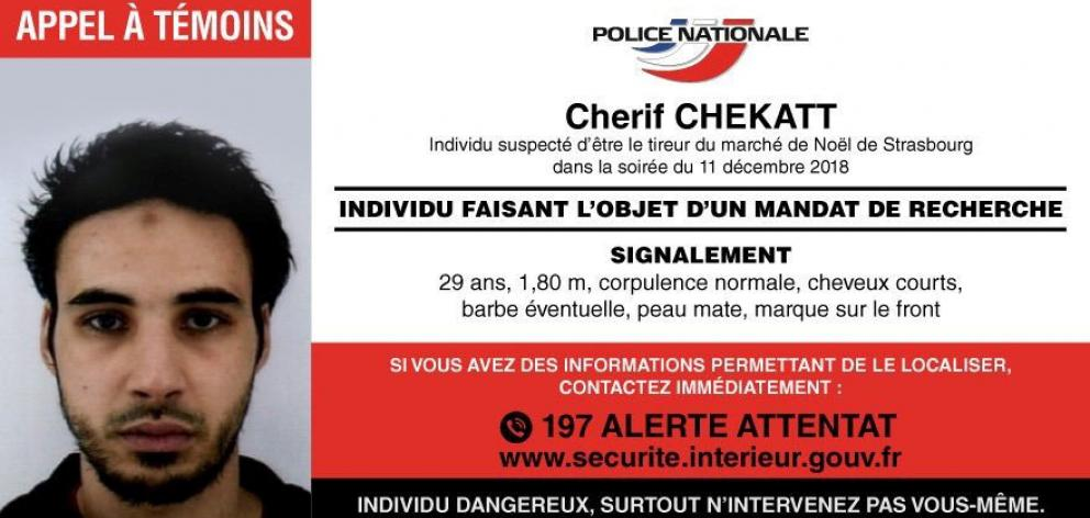 Police have posted this appeal for sightings of Strasbourg-born Cherif Chekatt. Image: French...