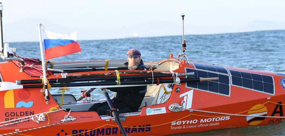 Russian rower Fedor Konyukhov is celebrating his 67th birthday today, while rowing across the Pacific Ocean towards Chile. Photo: Stephen Jaquiery