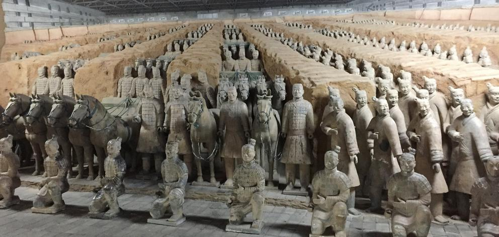 The Terracotta Army is a collection of terracotta sculptures depicting the armies of Qin Shi Huang, the first Emperor of China.  Photo: Robbie Baxter