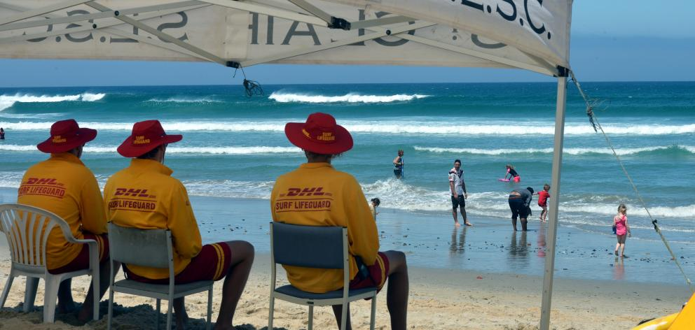 Lifeguards keep watch on St Clair Beach in Dunedin. Photo: ODT files
