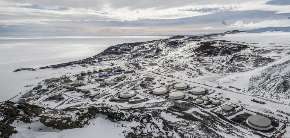 US Antarctic research station, McMurdo Station Antarctica from the top of Observation Hill. Photo: Getty Images