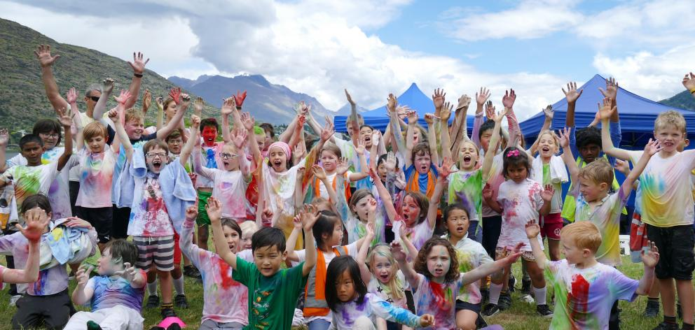 KingsView School pupils after the school's colour run fundraiser at the Frankton Recreation...