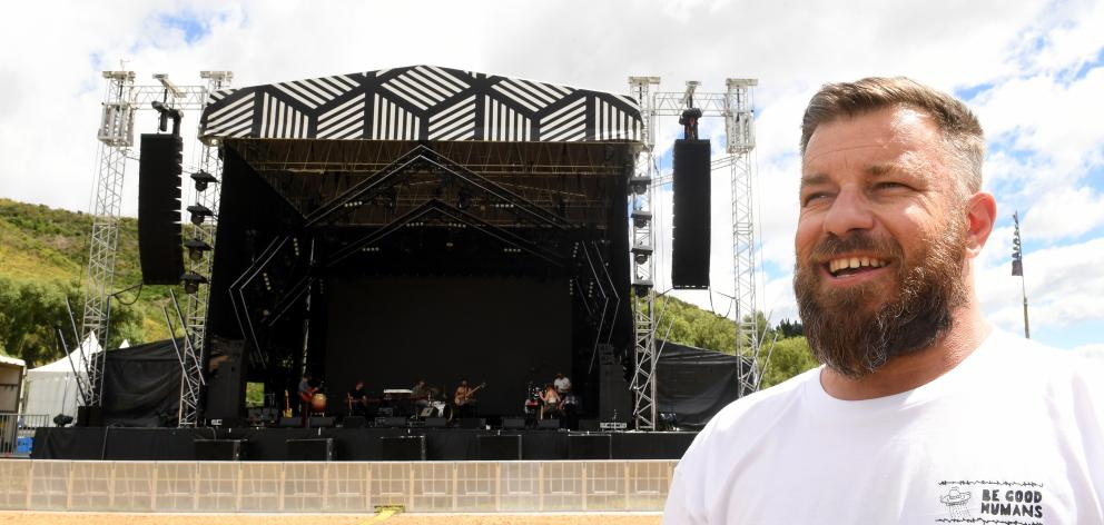Rythm and Alps founder and director, Alex Turnbull in front of the main stage. Photo: Stephen...